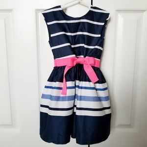 Carter's Navy Striped Dress With Pink Bow | Size 4